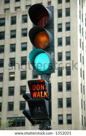 Green Light - Don't Walk - stock photo