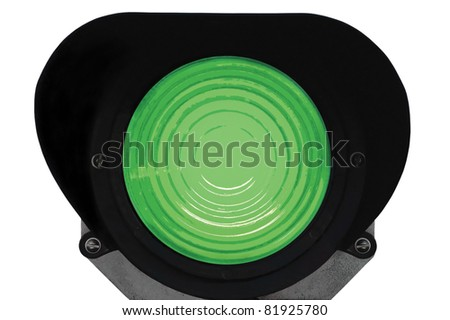 Green light railway traffic dwarf signal set at safe to go ahead, isolated railroad ground mounting lamp - stock photo