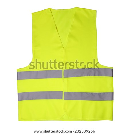 Green light vest isolated on white background - stock photo