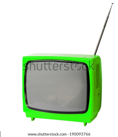 Green light vintage analog television isolated over white background, clipping path. - stock photo