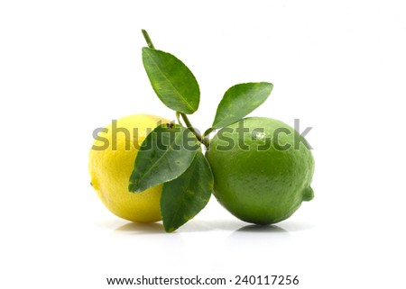 Green lime and yellow with leaf isolated on white background  - stock photo