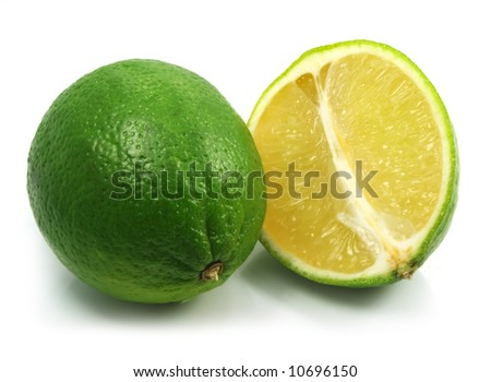 green lime exotic fruit isolated on the white background