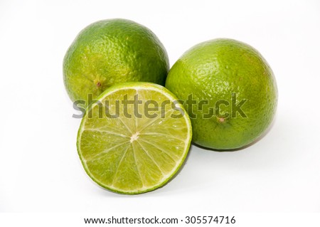 Green lime on white background.