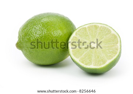 green Lime with white background