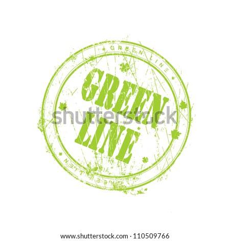 Green line stamp - stock photo