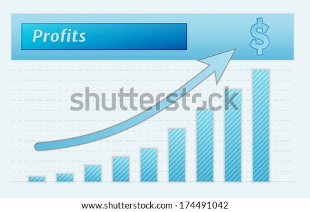 green lined graph with arrow representing growing profits