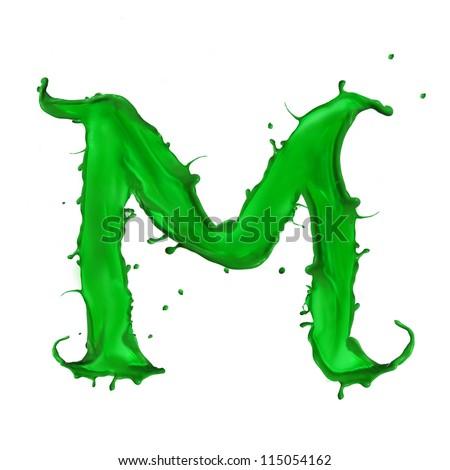 Green Letter m Logo Green Liquid Alphabet Letter m