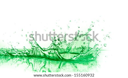 green liquid splash on white background - stock photo
