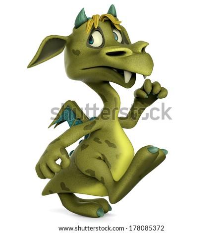 green little monster walking - stock photo
