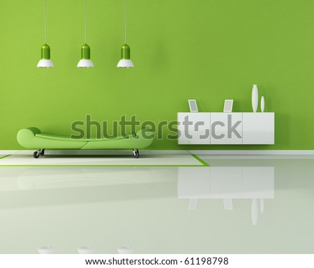 green living room with fashion couch on wheels - rendering - stock photo