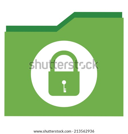 Green Lock Document Icon, Sign or Button Isolated on White Background  - stock photo