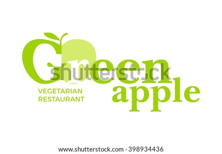 Green logo with word Green Apple, design elements apple, leaf at a white background. Design template for restaurant, cafe and canteens. Illustration