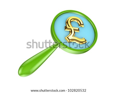 Green loupe and golden pound sterling sign.Isolated on white background.3d rendered. - stock photo
