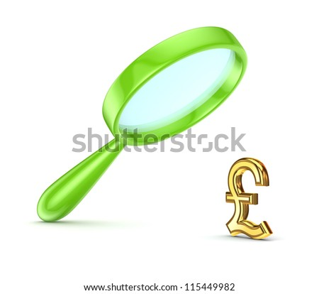 Green loupe and pound sterling symbol.Isolated on white background.3d rendered. - stock photo