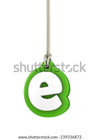 Green lowercase letter E hanging on rope with clipping path - stock photo