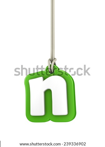 Green lowercase letter N hanging on rope with clipping path - stock photo