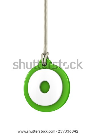 Green lowercase letter O hanging on rope with clipping path - stock photo
