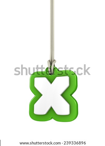 Green lowercase letter X hanging on rope with clipping path - stock photo