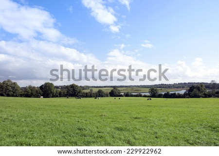 green lush farmland fields and countryside of county Longford Ireland - stock photo