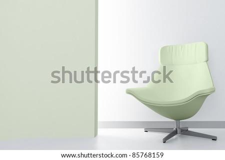 green luxury armchair in empty light room - stock photo