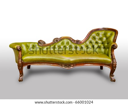 green luxury leather armchair isolated on white background