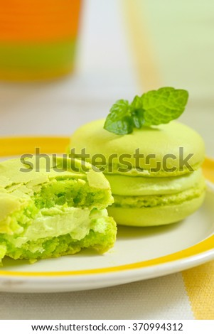 Green macaroon with fresh mint leaves - stock photo