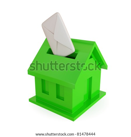 Green mailbox shape of house. 3d rendered. Isolated on white background. - stock photo