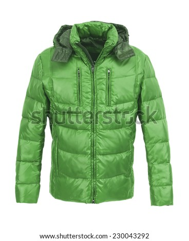 Green male winter jacket isolated on white background - stock photo