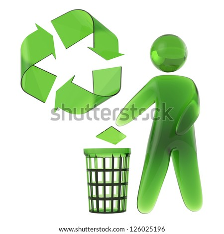 Green Man Recycled Trash - stock photo