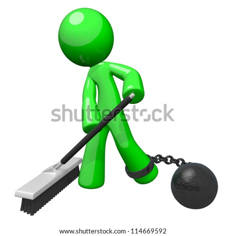 Green man with a ball and chain sweeping the floor. Denotes slavery, blue collar servitude, or some undesirable form of hard labor. - stock photo