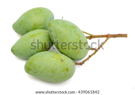 green mango fruits isolated on white background