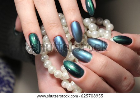 Green Manicure Nail Design Pearls Stock Photo Edit Now 625708955