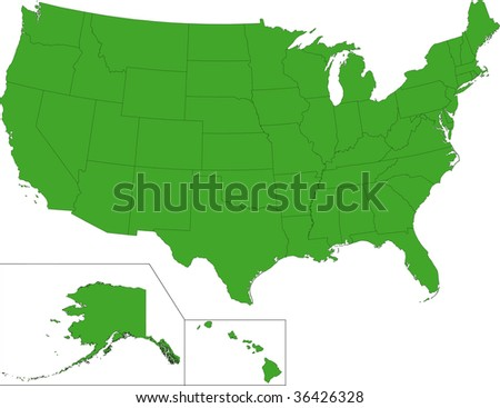 Green Map United States America State Stock Illustration - Maps of the united states of america
