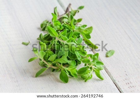 Green marjoram herb leaves on a white wooden table - stock photo