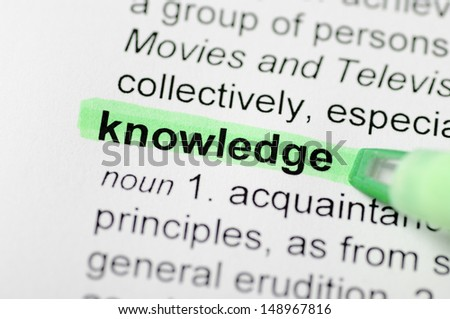 Green marker on knowledge word  - stock photo