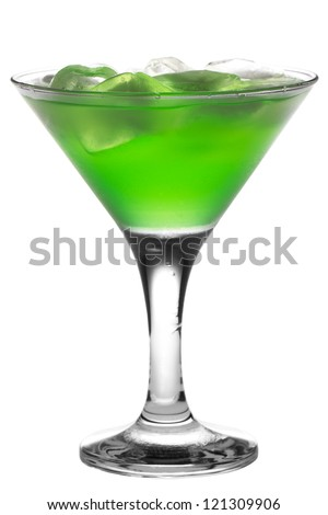 green martini cocktail into glass on white background - stock photo