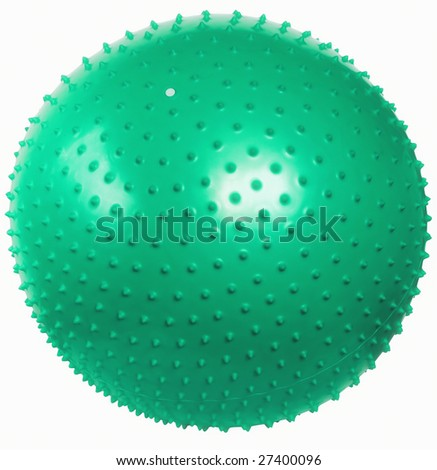 Green massage fit-ball isolated on white background. - stock photo