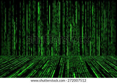 green matrix background with the green symbols, perspective concept - stock photo