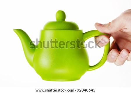 Green Matt Teapot - stock photo