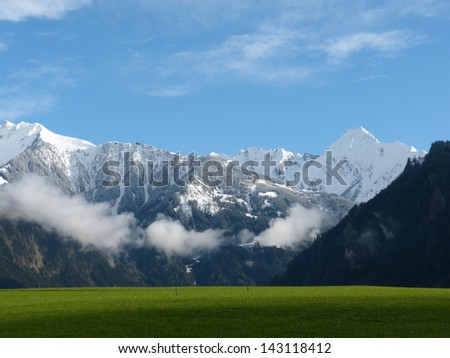 green meadow and snow-capped mountains