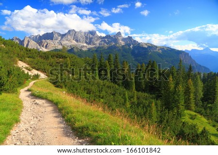 Green meadow and trail leading to distant mountains, Dolomite Alps, Italy - stock photo