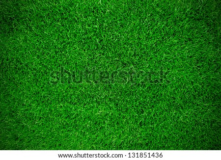 Green meadow grass field for football - stock photo