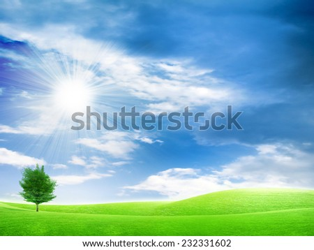 green meadow under beautiful solar sky - stock photo