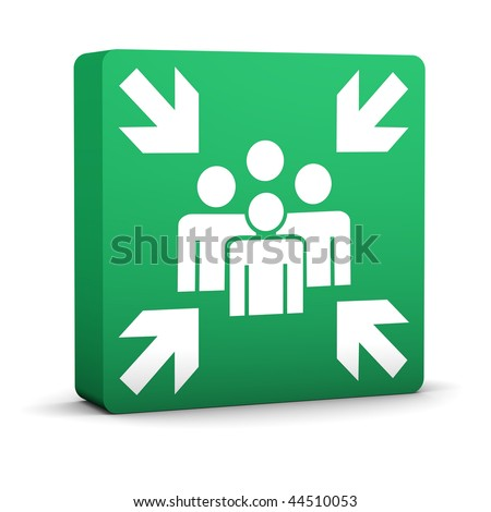 Green meeting point sign on a white background. Part of a series. - stock photo