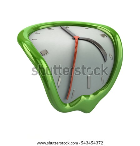 Green melting clock icon 3d rendering on white background