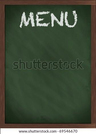 Green menu blackboard with empty space - stock photo