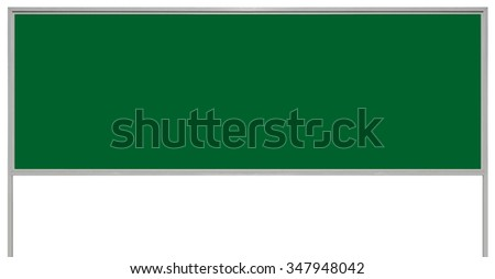 Green metal adboard sign board signage, isolated blank empty roadside advertising signboard billboard copy space large horizontal grey metallic advert placard plate, gray signpost pole post background - stock photo