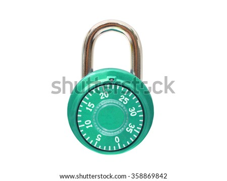 Green Metal Padlock isolated on white background