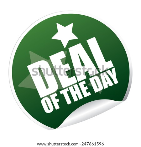 Green Metallic Deal of The Day Sticker, Icon or Label Isolated on White Background  - stock photo