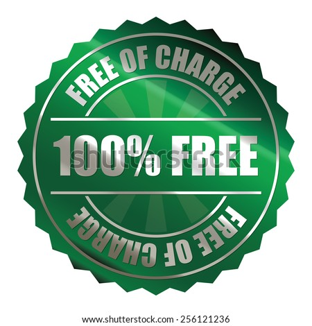 green metallic 100% free of charge badge, sticker, icon, label, sign, banner isolated on white  - stock photo